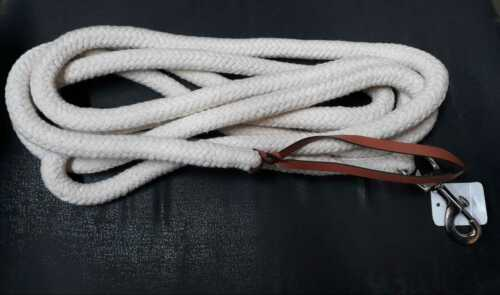 SNAP LEATHER POPPER RANCHER NATURAL COTTON LEAD ROPE 14/' FT