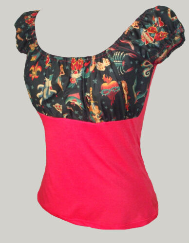 Black tattoo red gypsy top rockabilly 50s pin-up 8-20