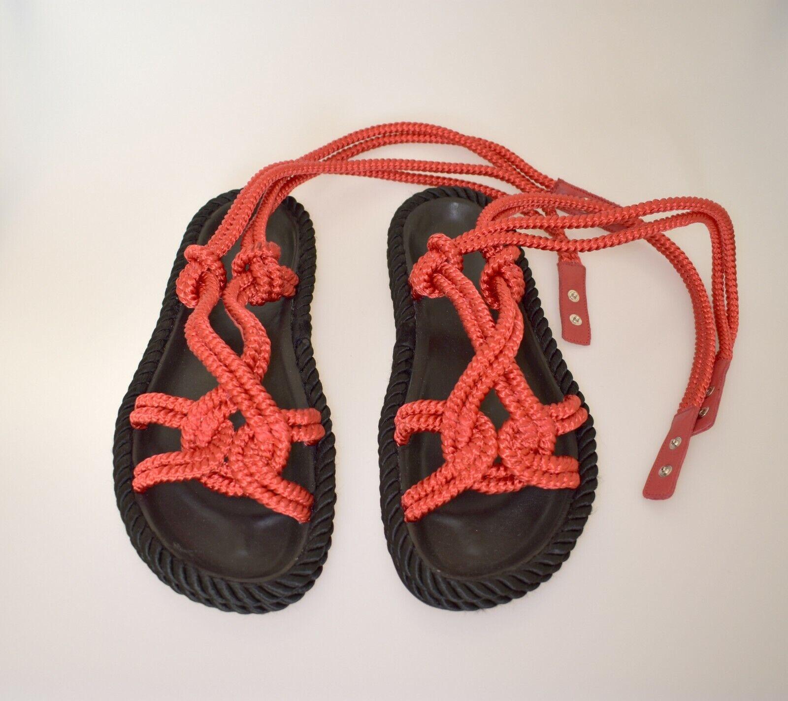ISABEL MARANT sandals Sandalen rot schwarz leather leder Kordel CORDS Römersanda