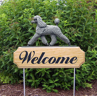 Poodle Dog Breed Oak Wood Welcome Outdoor Yard Sign Grey