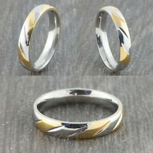 4mm-Stainless-Steel-Gold-amp-Silver-Wedding-Band-Mens-Womens-Ring-Sizes-M-to-X