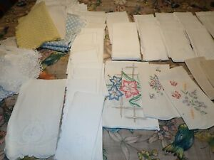 Vintage Mixed Lot of Linen Dresser doily napkins embroidered pieces