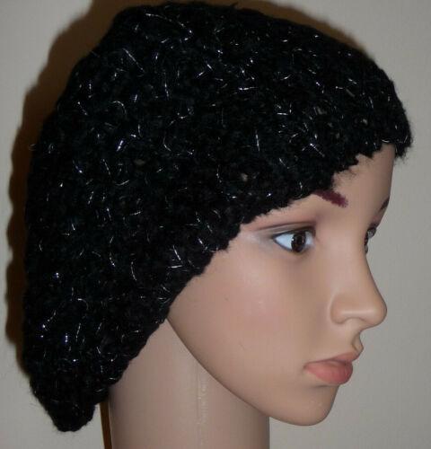 Cappello Lavorato a Maglia Nero Luccicante Berretto Slouch Crochet Morbido Caldo Taglia Unica