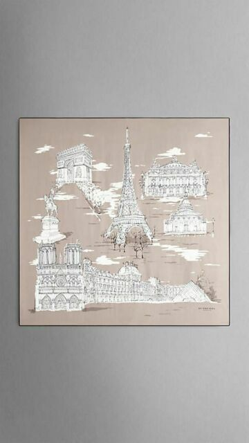 $610 Authentic BNWT BURBERRY Paris Landmarks Print Large Silk Womens Scarf Taupe