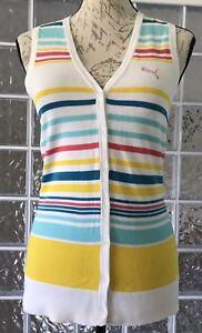 PUMA-NWT-79-Women-039-s-Sleeveless-Golf-Top-Blouse-Cotton-Puma-Logo-Stripes-XS