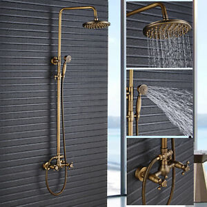 Antique Brass Bath Shower System Faucet Set 8 Inch Rain Head Sprayer