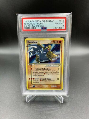 PSA 8 Groudon Gold Star 2005 EX Delta Species Pokemon Card