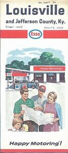 Details about 1966 ESSO HUMBLE Road Map LOUISVILLE Jefferson County  Kentucky Churchill Downs