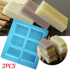 2pcs-6-Cavity-Rectangle-Soap-Mold-Silicone-Craft-DIY-Making-Homemade-Cake-Mould