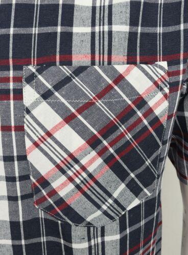 Mens Shirt Short Sleeve Check New Cotton Blend Lightweight Summer Holiday Beach
