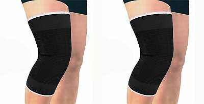 Medium Elasticated Black Knee Support Brace Protector Sleeve Wrap Patella Gym UK