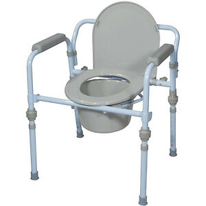 Folding Commode Chair New Folding Commode Seat Bucket Set Portable Potty Camping ...