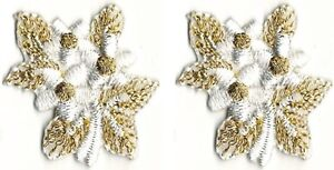Lot-of-2-White-Gold-Wedding-Flower-Embroidery-Patch