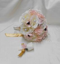 Wedding Silk Flower Bridal Bouquet 18 pieces Package Ivory Pink Blush Rose Gold
