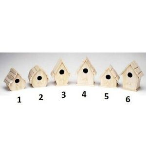 Assorted Unfinished Wood Sparrow Birdhouses - Choose Style