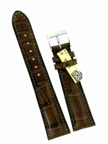 Louisiana Kroko Uhrband 22mm braun  grosse Narbung  Made in Germany Handmade