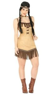 Details About Womens Pocahontas Costume Native Red Indian Fancy Dress Ladies Outfit Uk 10 16