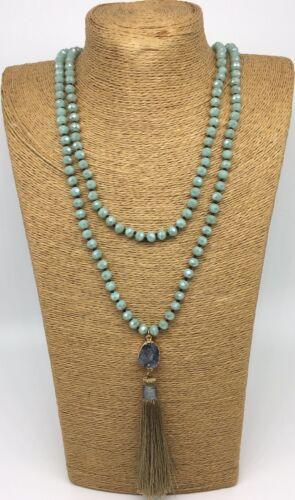 Fashion BohemianTribal Long Crystal Necklace w charming Pendant Tassel For Women