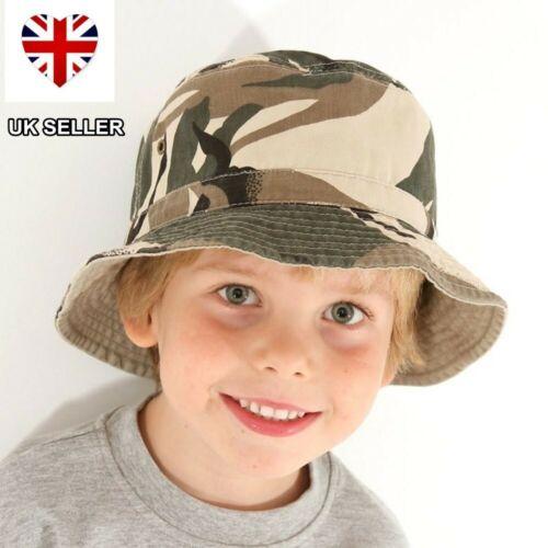 NEW BOYS CHILDS CAMO CAMOUFLAGE BUSH BEANIE BUCKET COTTON SUN HAT UK SELLER
