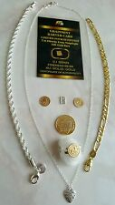 In Lotto collana,Anelli con moneta D'oro 24kt bracciali uomo donna.Gioielli Rari