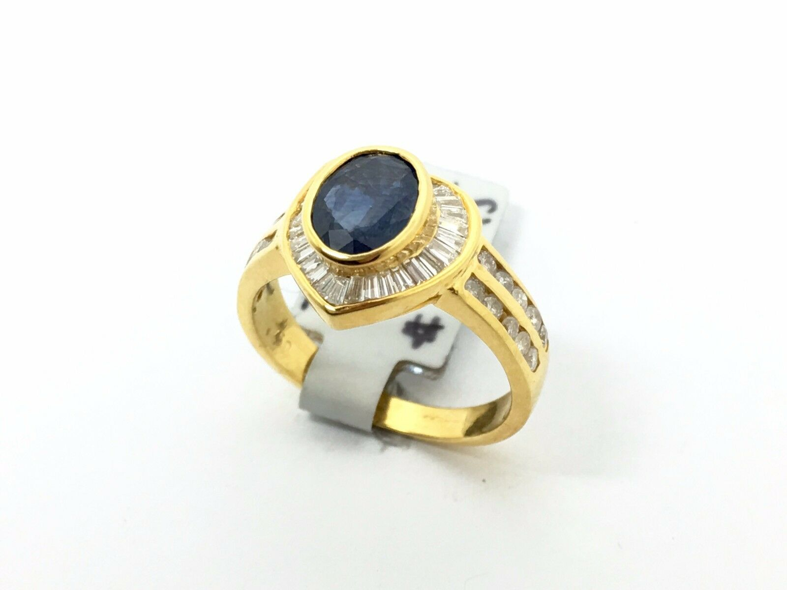 18k Yellow gold Sapphire and Diamond Heart Ring 2.35CTTW Size 6.5 5.07Grams