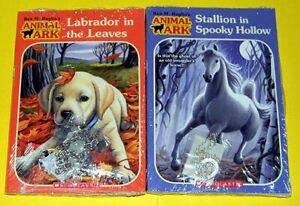 NEW-2-ANIMAL-ARK-BOOKS-w-jewelry-STALLION-w-NECKLACE-amp-LABRADOR-w-BRACELET
