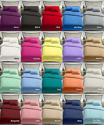 Plain Duvet Cover Quilt Set PillowCases Or Fitted Sheet Single Double King