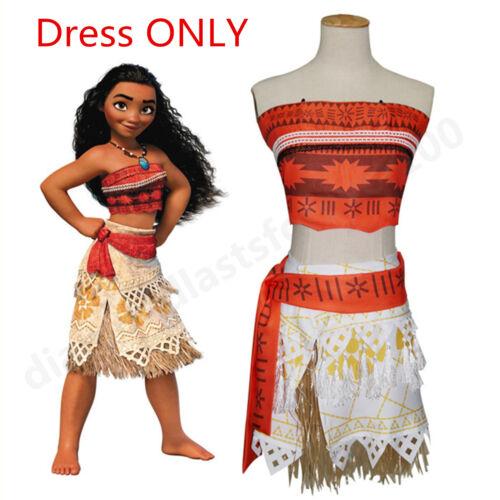 Girls Moana Princess Fancy Dress Kids Costume Cosplay  Wig Necklace Gifts