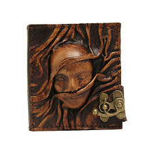 Handmade Real Leather Refill Journal Brown Diary Notebook Book Scarfed Woman