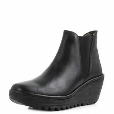 Womens Fly London Yoss Black Rug Leather Wedge Heel Chelsea Ankle Boots Shu Size