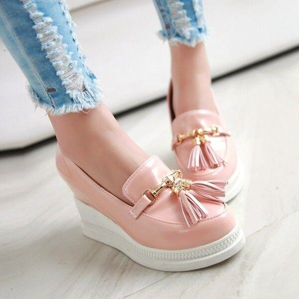 Korean Tassels Slip On Round Toe Platform Wedge Heel Womens Pumps Date shoes Hot