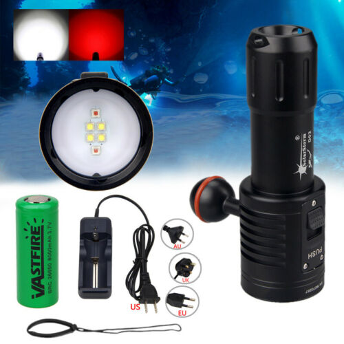 Photograph 6x White+Red LED Diving Flashlight Underwater 100M Video Camera Torch