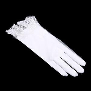 White-Mesh-Lace-Bridal-Wedding-Soft-Tulle-Finger-Organza-Short-Gloves-WE