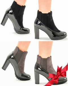 Women-039-s-Girls-High-Block-Heel-Patent-Chelsea-Ladies-Ankle-Boots-Pull-On-Shoes