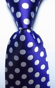 New-Classic-Polka-Dot-Purple-White-JACQUARD-WOVEN-100-Silk-Men-039-s-Tie-Necktie