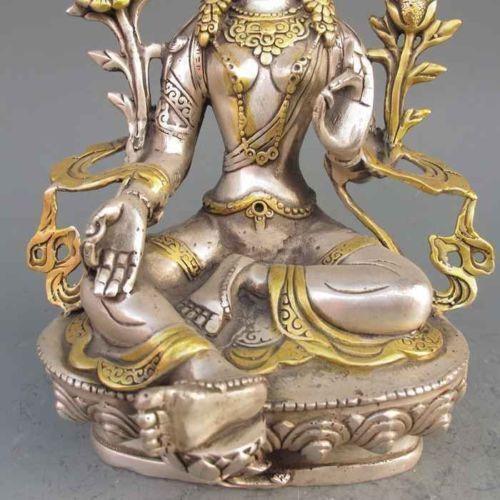 White Tara Buddha 8.86 inch//Tibet Silver Copper Gilt Tibetan Buddhism Statue