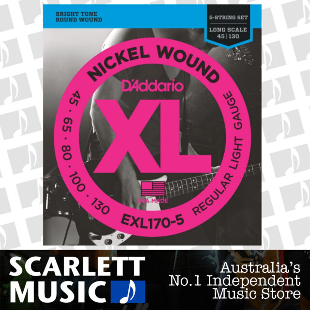 45-130 D/'Addario Coated 5-String Bass Guitar Strings Light Long Scale