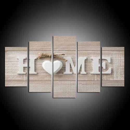 5 PCS//CONJUNTO de sala de estar Lona Lar Doce Amor Coração Decoração De Parede Mural De Arte Pintura