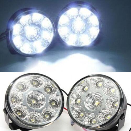 1 Pair White 12V 9 LED Round Daytime Running Light DRL Car Fog Day Driving Lamp