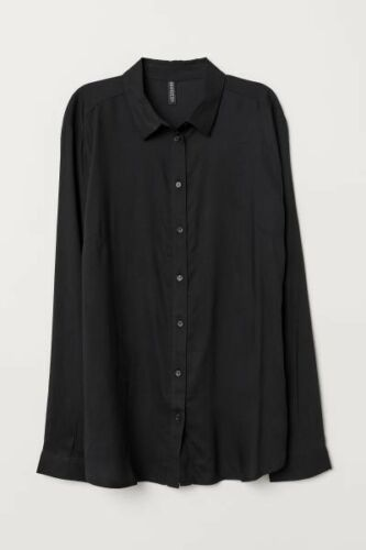 H/&M Light Blue button up shirt Collared Career Blouse Women/'s sz  2 4 6 8 12 14