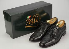 $695 ZELLI 'Da Vinci' Black Crocodile Leather Exotic Oxfords Shoes 9 M w/ Box