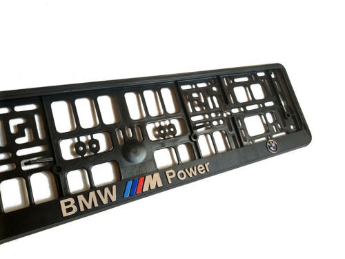 BMW POWER LOGO 3D European Euro License Number Plate Holder Frame German