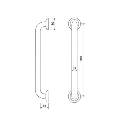 600mm Bathroom Grab Rail in Brushed Stainless Steel