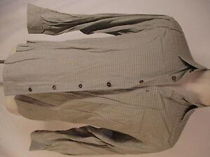 Ermenegildo-Zegna-Mens-Beige-Plaid-Long-Sleeve-Cotton-Shirt-S-Italy-Made