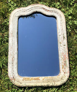 Antique-Victorian-Wood-Wall-Mirror-Arched-Old-Chippy-Paint-Farm-House-Distressed