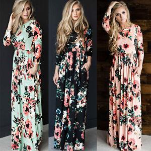 22fa5e4c5 UK Women Floral Print Long Party Prom Dresses Ladies Boho Maxi ...