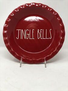 Rae-Dunn-Red-JINGLE-BELLS-Pie-Plate-Baking-Dish-Christmas-NEW