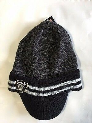 Oakland Raiders Knit Beanie Winter Hat Toque Skull Cap New Visor Brim bf27ba1a8