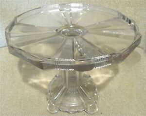 1880-039-s-Antique-EAPG-034-CLEAR-RIBBON-034-GLASS-CAKE-STAND