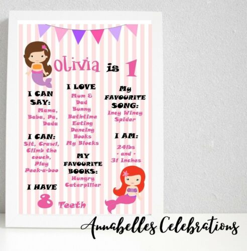 Mermaid First Birthday Personalised Milestone Print Party Decorations 1st Girls
